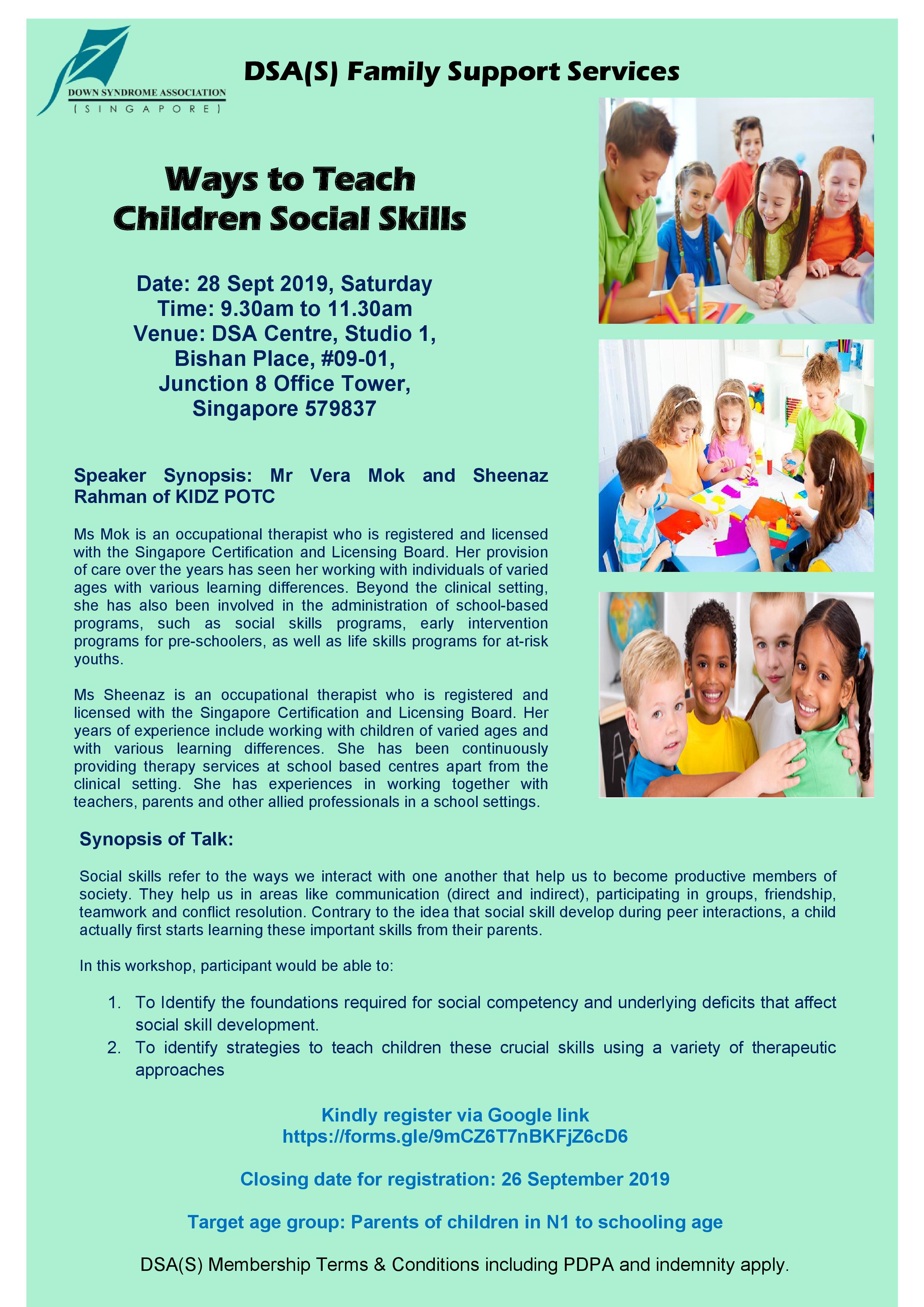 DSA Workshop - Ways To Teach Children Social Skills