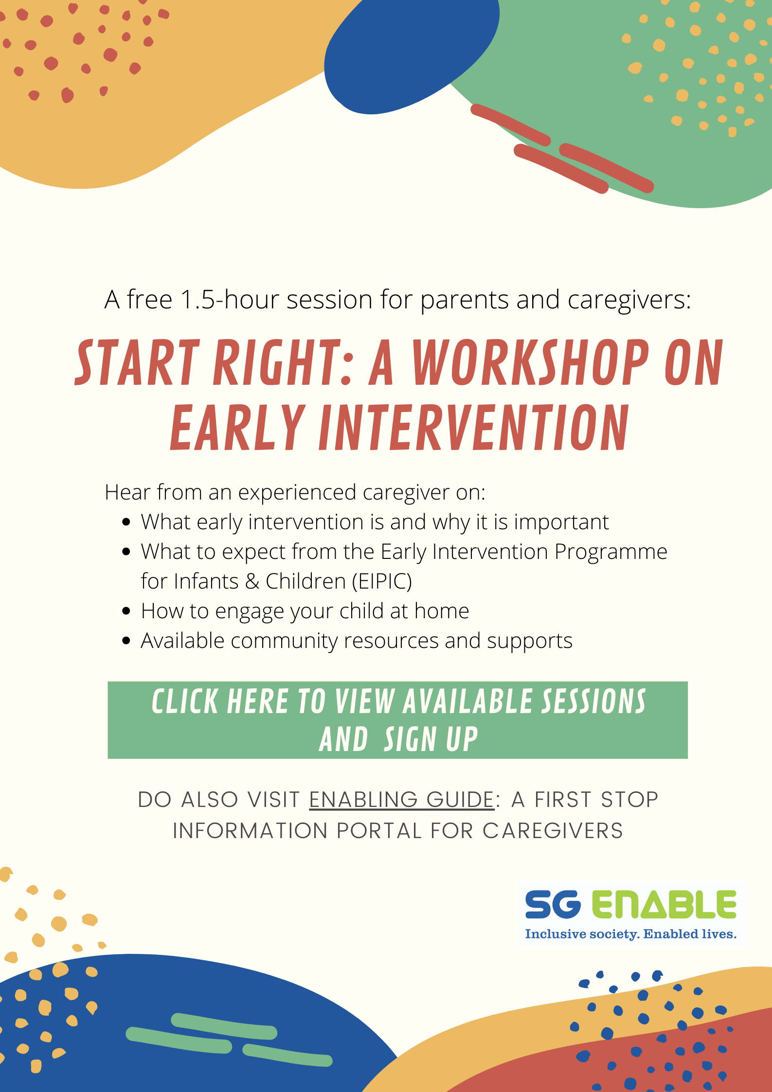Start Right: A Workshop On Early Intervention