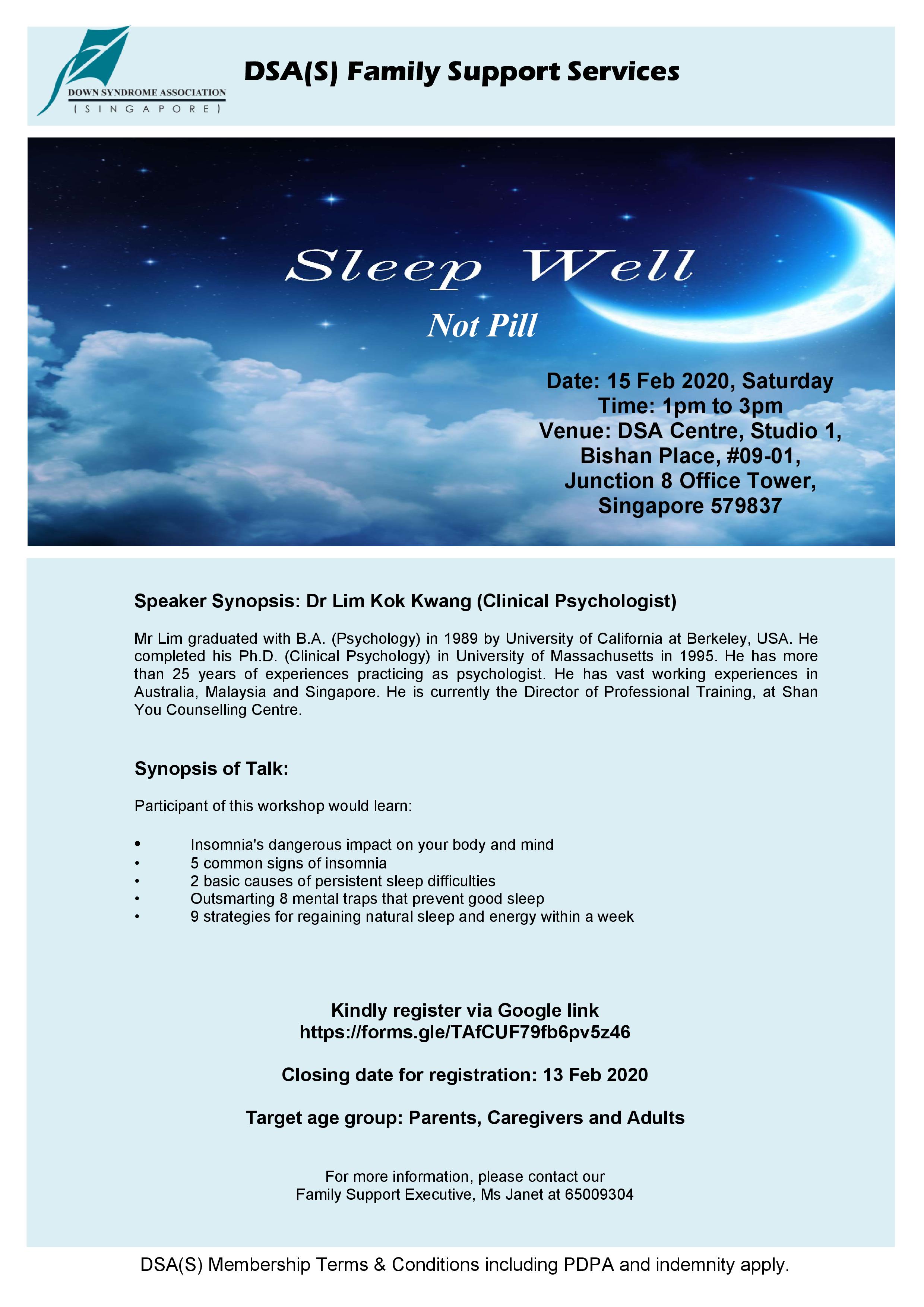 DSA Workshop - Sleep Well, Not Pill